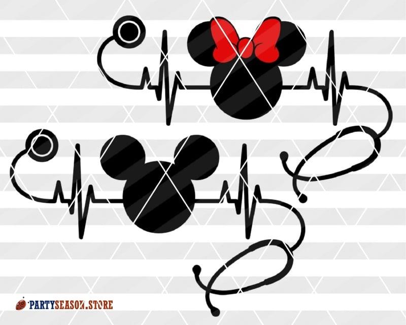 Nurse Christmas Svg.Bundle Nursery Decor Nurse Svg Files Stethoscope Svg Cardiogram Heartbeat Svg Mickey Doctor Minnie Mouse Bow Hospital Disney Ears Cricut Dxf