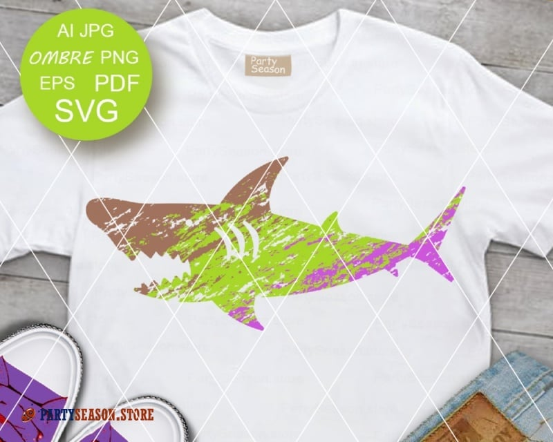 Shark  Ombre Grunge party season store