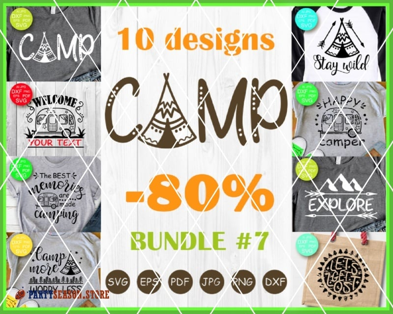bundle 7 svg files camp party season store