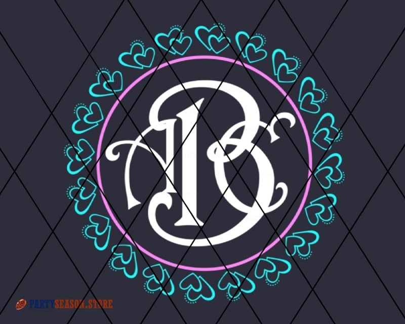 monogram with hearts party season store