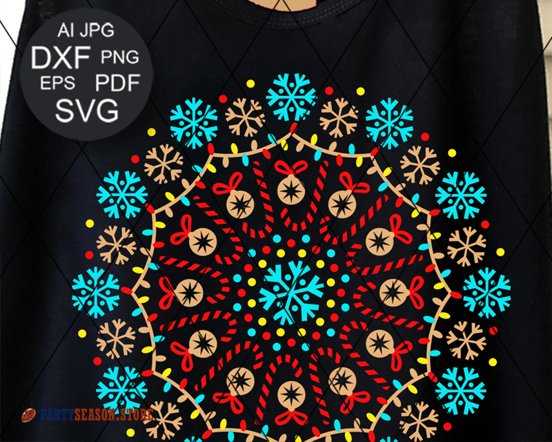 Mandala Color Snowflakes Party Season store