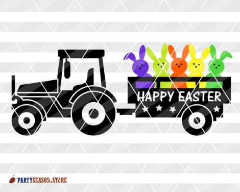 Tractor Happy easter Bunny Party season store 2