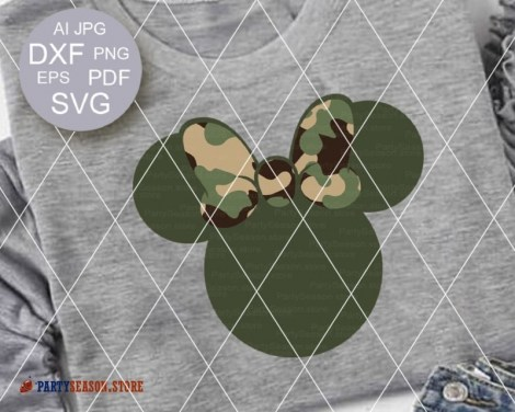 party season store camo Minnie bow 1