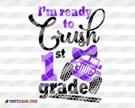 1st grade svg Jeep Girl bow Party Season 1