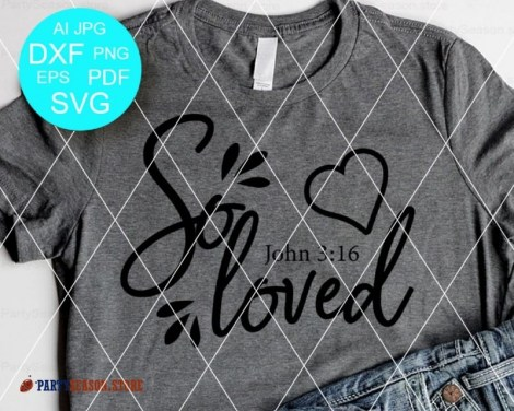So Loved SVG Bible verse svg Party season Store 1