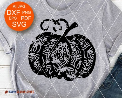 Party Season Store Pumpkin grunge Mandala Zentangle 1