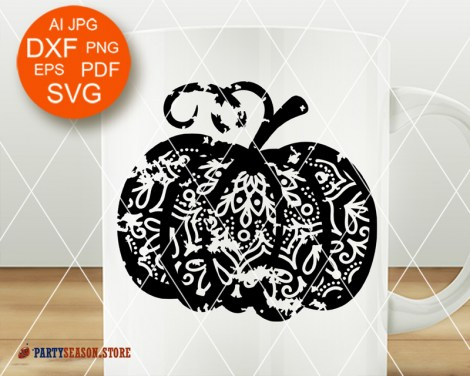 Party Season Store Pumpkin grunge Mandala Zentangle 3