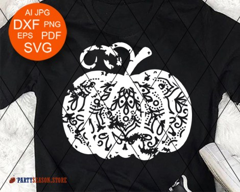 Party Season Store Pumpkin grunge Mandala Zentangle 2