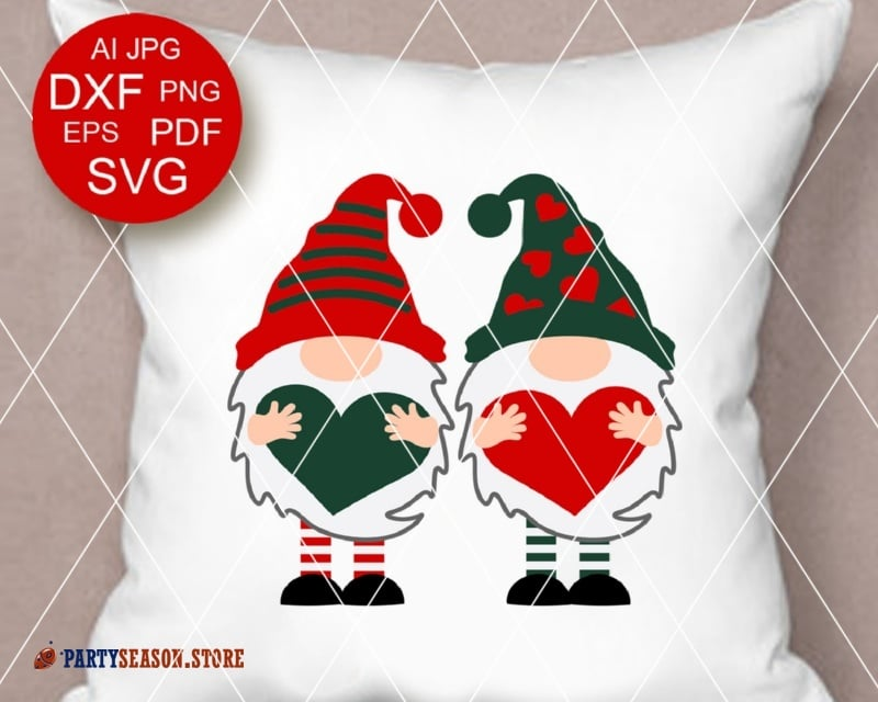 Christmas Gnome Svg.Two Gnomes With Hearts Svg Valentines Day Svg Red And Green Gnomes Clipart Valentine Shirt Love Dxf Eps Svg Png Cricut Silhouette Cameo